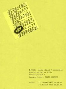 Page de garde du catalogue des productions du collectif Clivage