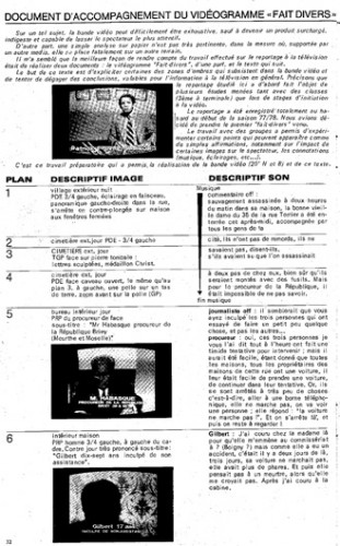 """Document d'accompagnement du vidéogramme """"Fait divers"""", paru dans la revue """"ATAC Informations"""" n°98 (décembre 1978) - archives personnelles Pierre Müller"""