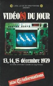 """Programme de la manifestation """"Vidéo(s) du jour"""" organisée par l'ATAC en décembre 1979"""