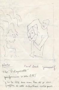 """Dessin préparatoire pour la performance """"Vidéopérette"""" (1978) - Fonds Michel Jaffrennou / BnF"""
